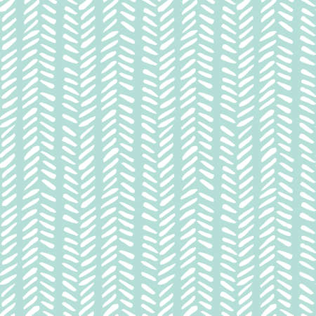 White hand drawn tribal herringbone stitches on mint background vector seamless pattern. Fresh geometric drawing Çizim