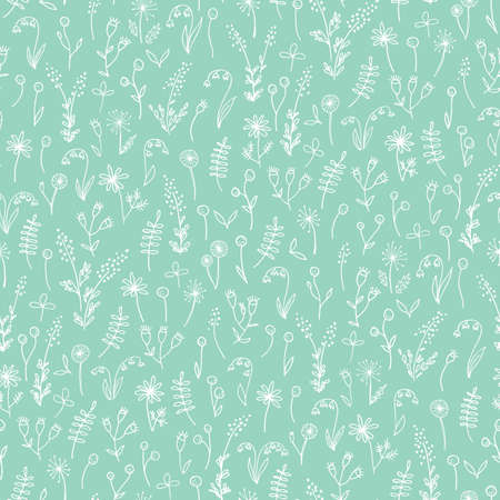 White Hand Drawn Doodle Floral on Mint Background Vector Seamless Pattern. Cute Meadow Flowers and Leaves Silhouettes. Line Drawing Allover Background Repeat