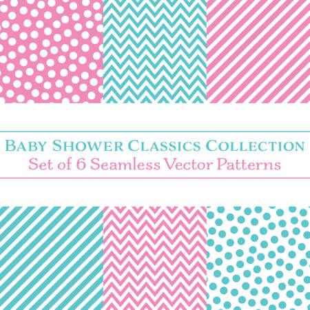 Colección de 6 patrones sin fisuras de vector clásico de baby shower, lunares, galones y rayas de caramelo en rosa y cian. Paquete de impresión fresca perfecto para múltiples usos.