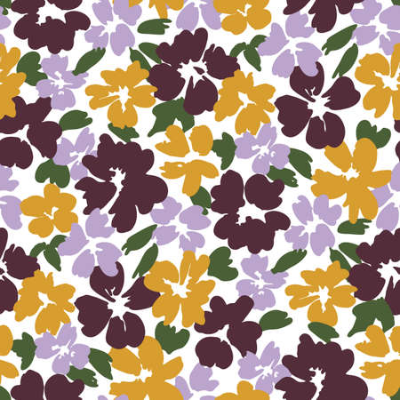 Colorful graphic large scale floral vector seamless pattern on white background