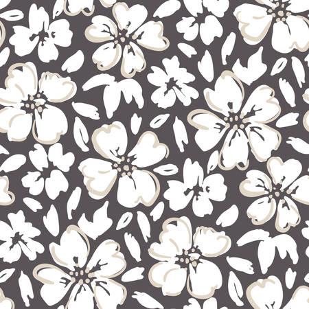 Peint à la main blanche décrit un motif sans couture de vecteur floral à grande échelle sur fond sombre Vecteurs