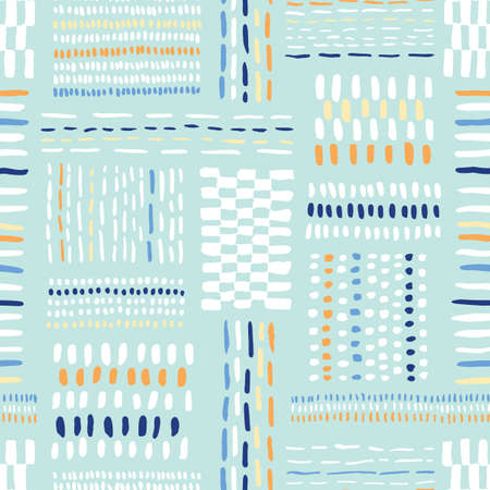 Hand drawn colorful tribal marks and stripes, mimicking folk stitching on mint background. Vector seamless pattern. Fresh abstract geometric drawing.