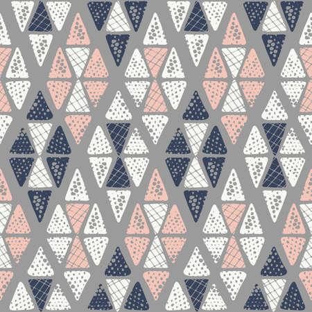 Hand getekend tribal getextureerde argyle op grijze achtergrond vector naadloze patroon. Etnische driehoeken geometrische tekening