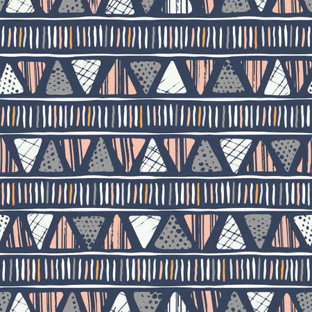 Hand drawn tribal textured triangles and stripes on dark background vector seamless pattern. Ethnic geometric drawing