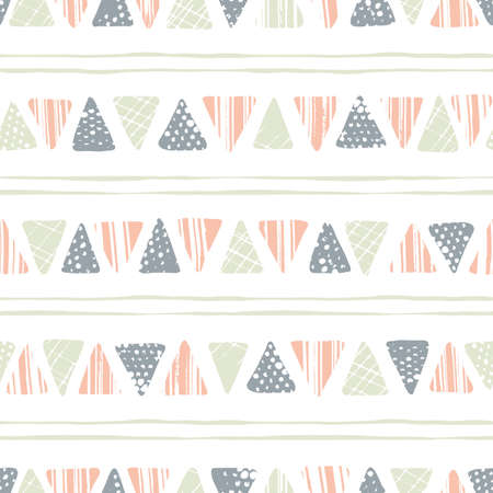 Hand drawn tribal textured triangles and stripes on white background vector seamless pattern. Ethnic geometric drawing inspired by traditional kilims and stitching Vektorové ilustrace