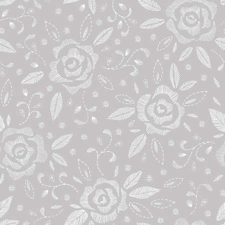 Hand Drawn White Roses, Mimicking Embroidery Stitches, on Grey Floral Vector Seamless Pattern. Feminine Flowers Background. Perfect for Wedding
