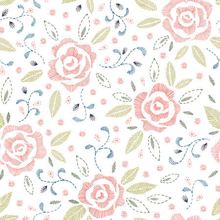 White Background Floral Vector Seamless Pattern Vector Illustration
