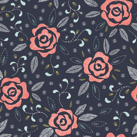 Hand Drawn Roses, Mimicking Folk Embroidery Stitches, on Dark Blue Background Floral Vector Seamless Pattern 矢量图像