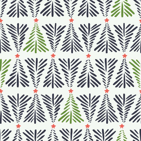 Hand drawn abstract Christmas trees, red stars on white background vector seamless pattern. Winter Holiday Scandinavian