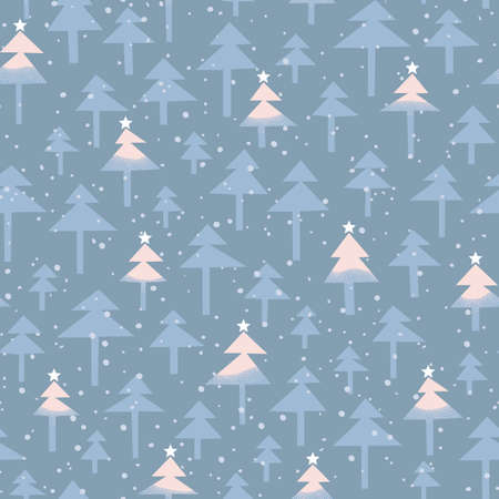 Cute trendy abstract Christmas pastel pink and blue shaded trees, stars, snow on woodland background vector seamless pattern. Winter Wonderland Holiday Pink Aqua Scandinavian Nordic Forest Print.