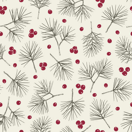 Rustic Hand Drawn Green Pine Tree and Red Berries Vector Seamless Pattern. Christmas Foliage Line Drawing Background