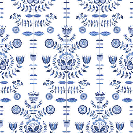 Folk Blue Flowers on White Background Vector Seamless Pattern. Delft Florals. Hand-drawn doodle monochrome flora.