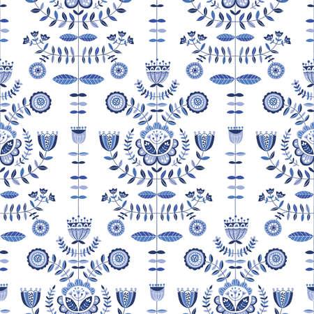 Folk Blue Flowers on White Background Vector Seamless Pattern. Delft Florals. Hand-drawn doodle monochrome flora.