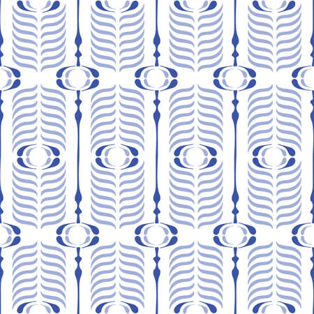 Bule and White Ogee Background Vector Seamless Pattern. Modern Classic Geometric pattern. Monochrome Feathers Print