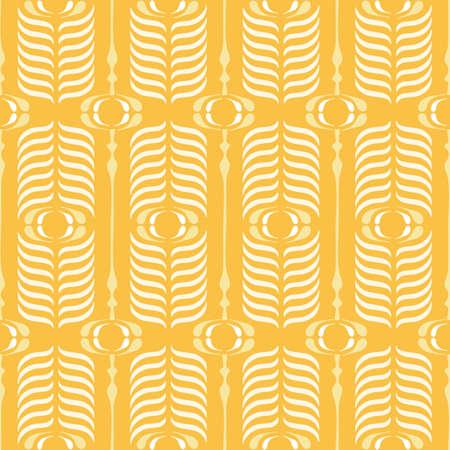Yellow Ogee Background Vector Seamless Pattern. Modern Classic Geometric pattern. Monochrome Feathers Print Illustration