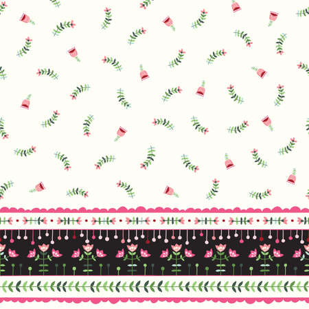 Helle Volksblumen auf Creme Hintergrund Vektor nahtlose Muster. Bunte Blumengrenze. Handgezeichnete Ditsy Doodle Flora.