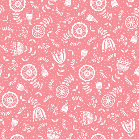 Folk White Flowers on Pink Background Vector Seamless Pattern. Florals Texture. Hand-drawn blooms, doodle flora Vector Illustration