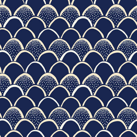 Indigo Hand-Drawn Japanese Style Fishscale Vector Seamless Pattern. Katazome Resist Dyed Print. Stippling Texture  イラスト・ベクター素材