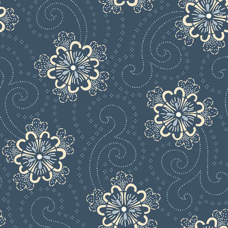Indigo Hand-Drawn Japanese Floral Vector Seamless Pattern. Traditional Katazome Katagami Style Blooms Background. Elegant Lace Flowers. Stippling Marks. Perfect for textiles, wedding invitations. Illustration
