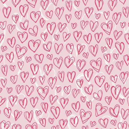 Hand Drawn Doodle Red Hearts Valentines Day vector Seamless Pattern. Cute Graffity Pink Background