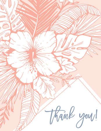 Retro Vintage Coral Tropical Floral Exotic Foliage and Hibiscus Thank you Greeting Card. Ink line Drawing Background. Illustration