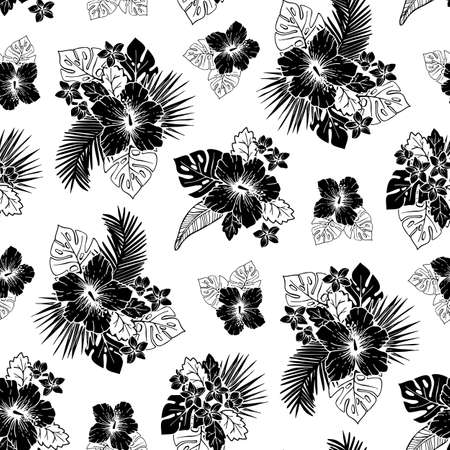 Black and White Tropical Exotic Foliage and Hibiscus Floral Vector Seamless Pattern. Line Drawing Background.