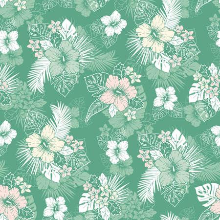Feuillage exotique tropical menthe et blanc et modèle sans couture de vecteur floral Hibiscus. Arrière-plan de dessin au trait. Vecteurs