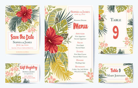 Vector Retro Vintage Bold Tropical Wedding Save the date, Menu, Placement Card Set. Exotic Lush Hibiscus Flowers and Palm Foliage. See my portfolio for matching Invitation, Thank you, RSVP Card Set. Standard-Bild - 114549720