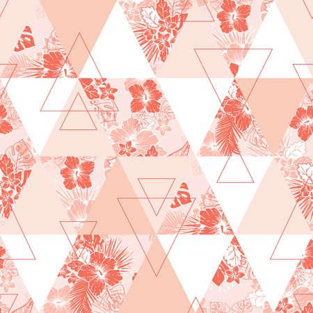 Feuillage exotique tropical de corail, Hibiscus et Triangles Floral Vector Seamless Pattern. Motifs géométriques. Fleurs exotiques Vecteurs