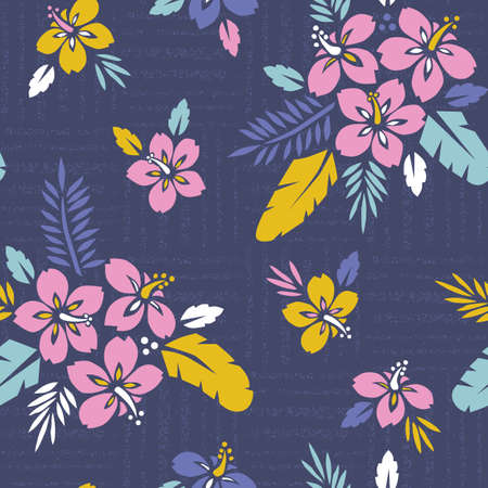 Grand Feuillage Exotique Tropical Coloré Audacieux, Modèle Sans Couture De Vecteur Floral Hibiscus. Feuilles de palmiers tropicaux luxuriants. Vecteurs
