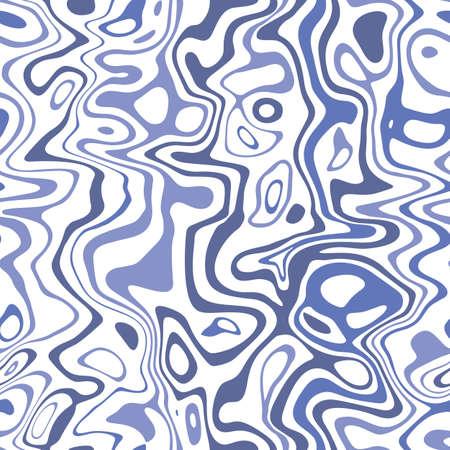 Blauwe Marbleized strepen op witte achtergrond Vector naadloze patroon. Waterrimpelingen, golven Vector Illustratie