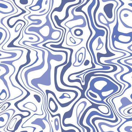 Blue Marbleized Stripes on White Background Vector Seamless Pattern. Water Ripples, Waves Illustration