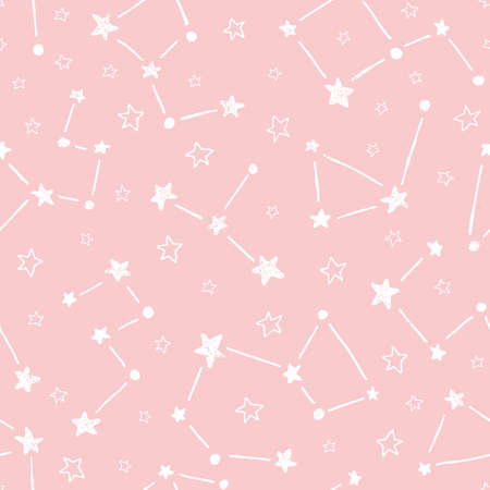 Handgezeichnete Doodle Konstellationen auf rosa Hintergrund Vektor nahtlose Muster. Süßer Sternen-Baby-Print Vektorgrafik