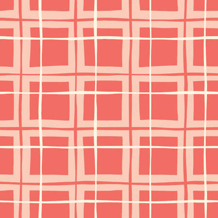 Coral Hand-Drawn Plaid Vector Seamless Pattern. Whimsical Modern Classic Tartan Background