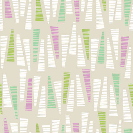 Whimsical Pastel Colored Hand-Drawn Textured Triangles Background Vector Seamless Pattern. Abstract Geometric Print