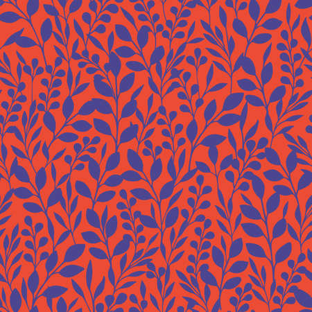 Monochrome Foliage Silhouettes Vector Seamless Pattern. Red and Purple Abstract Floral Print.