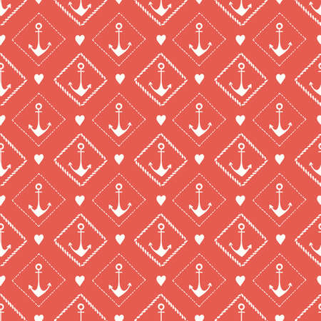 Hand-Drawn Monochrome Nautical Rope Frames with Anchors and Hearts Vector Seamless Pattern. Red Small Scale Marine Background. Sea, Ocean Elements.