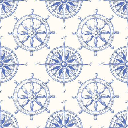 Vintage Nautical Hand-Drawn Ship Steering Wheel and Sea Compass Vector Seamless Pattern. Blue Marine Background. Sailing Objects.