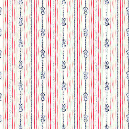 Hand-Drawn Vertical Nautical Zeppelin Bend Knots and Ropes Stripes Vector Seamless Pattern. Blue and Red Marine Background. Sailing Objects.