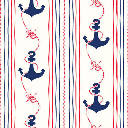 Hand-Drawn Rope Vertical Stripes with Anchors and Zeppelin Bend Nautical Knots Vector Seamless Pattern. Blue and Red Marine Background. Sea, Ocean Elements.