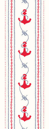 Hand-Drawn Rope and Chains Stripes with Anchors and Zeppelin Bend Nautical Knots Vertical Vector Seamless Border. Blue and Red Marine Background. Sea, Ocean Elements.