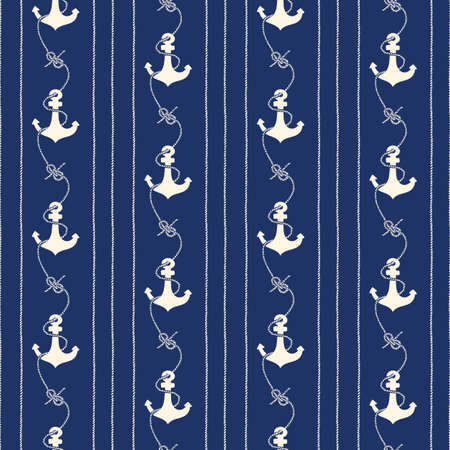 Hand-Drawn Rope Vertical Stripes with Anchors and Zeppelin Bend Nautical Knots Vector Seamless Pattern. Monochrome Blue Marine Background. Sea, Ocean Elements.