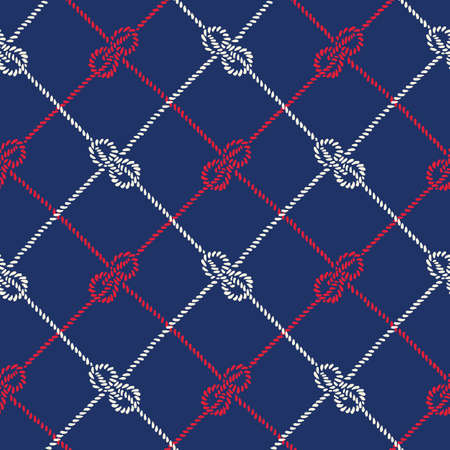 Hand-Drawn Rope Diagonal Plaid with Zeppelin Bend Nautical Knots Vector Seamless Pattern. Blue Marine Background Illustration