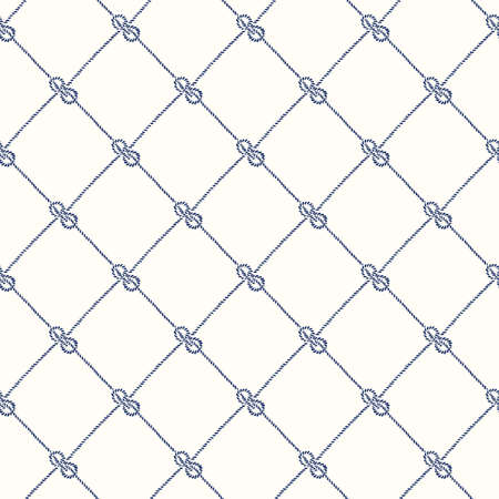 Hand-Drawn Rope Diagonal Plaid with Zeppelin Bend Nautical Knots Vector Seamless Pattern. Blue White Marine Background