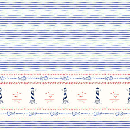 Hand-Drawn Horizontal Border with Ropes, Stitches, Marine Landscape and Lightouses Vector Seamless Pattern. Blue Stripes Backrgound. Sea, Ocean Elements.