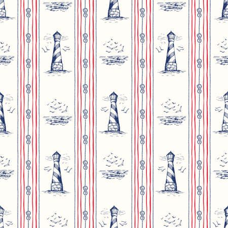 Vintage Hand-Drawn Rope Vertical Stripes with Lighthouse, Seagulls Scenery and Nautical Knots Vector Seamless Pattern