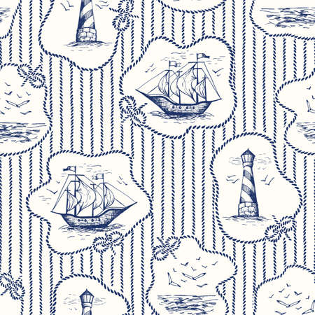 Vintage Hand-Drawn Rope Frames, Stripes Toile De Jouy Vector Seamless Pattern with Lighthouse, Seagulls Scenery, Ships Illustration