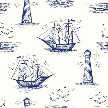 Vintage handgezeichnete nautische Toile De Jouy Vektor nahtlose Muster mit Leuchtturm, Möwen, Küstenlandschaft und Schiffen Vektorgrafik