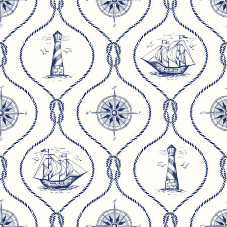 Vintage Hand-Drawn Rope Ogee Vector de patrones sin fisuras con faro, brújula de mar, barco y nudo de arrecife náutico.