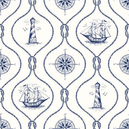 Vintage handgezeichnete Seil Ogee Vektor nahtlose Muster mit Leuchtturm, Seekompass, Schiff und nautischen Riffknoten.